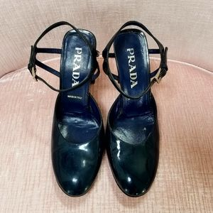 Navy Blue Patent Leather Prada Heels, Size 37